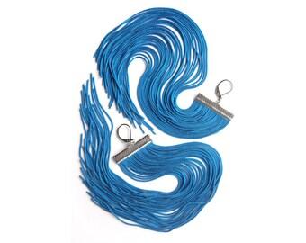 Blue Long Fringe Earrings / Aqua Blue Shoulder Duster / Bermuda Blue Chandelier / Extra Long Earrings / Large Statement Earrings