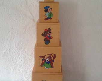 Vintage-Holzwürfel mit Disneyfiguren, Kinderspielzeug
