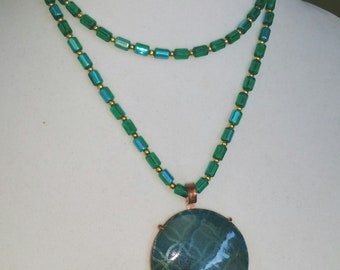 """Blue Enamel in hand made copper prong setting,30"""" hand knotted bead necklace, Free shipping"""