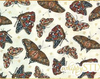 Butterfly Fabric By the Yard, Winterthur Museum John Hewson Andover Fabrics 5622, BTY Neutral Realistic Butterflies Cotton Quilting Fabric