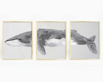 Digital Download, Set of Three Art Prints, Printable Set, Fin Whale Art, Gray Whale Print, Whale Species Print Set, Nautical Bathroom Art