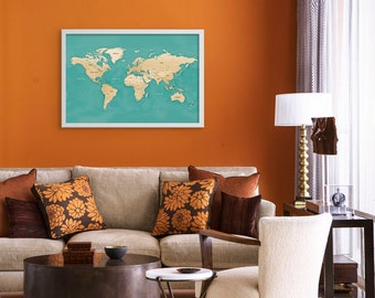 Push Pin Travel Map - White Frame - Modern Blue World Map with pins