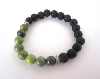 Green Serpentine Lava Stone Bracelet, Lava Stone Jewelry, 8mm Stretch Bracelet, Black Bracelet Jewelry, Diffuser Bracelet Diffuser Jewelry