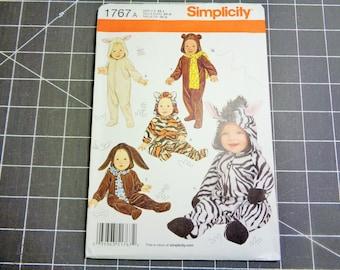 UNCUT Simplicity #1767 Babies Animal COSTUMES Pattern   Size XS-S-M-L 2012