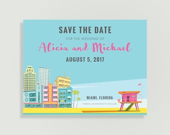 Miami Save the Date - Miami, Florida - Magnets Available - Personalized Printable File or Print Pkg -  #00210-STDA2