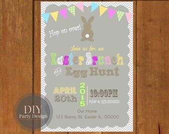 Easter Egg Hunt Party Invitation * Brunch Invitation * DIY  Digital File You Print