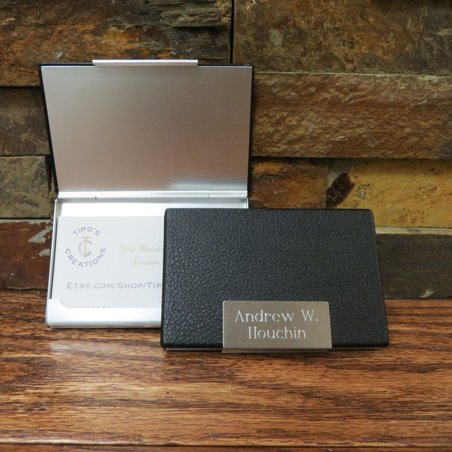 Leather Business Card Holder Case Personalized Engraved