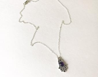 Amethyst Silver Hamsa Necklace