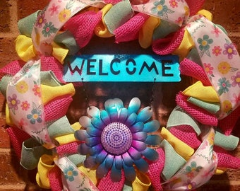 Bright flower welcome door decor