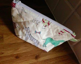 Lined & quilted make up bag pouch 100% Pooch / Dog fabric