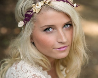 Eryn - Tie Back Open Halo Headband - Gold Beige Purple Plum Cream - Rosette Lace Pearl Silk - Newborn Baby Girl Infant