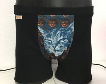 "Boxer briefs ""sceptical cat"" all black / size XL"