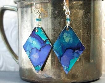 Artisan Metal Earrings Blue Dangle Earrings Teal Jewelry Hand Painted Earrings Unique Boho Earrings Gift Watercolor Diamond Shape Sterling