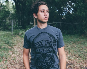 Dark Cycle Skull + Gears Logo Tee - Mens T Shirt, Unisex Tee, Cotton Tee, Handmade graphic tee, Bicycle shirt, Bike Tee, sizes xs-xxl