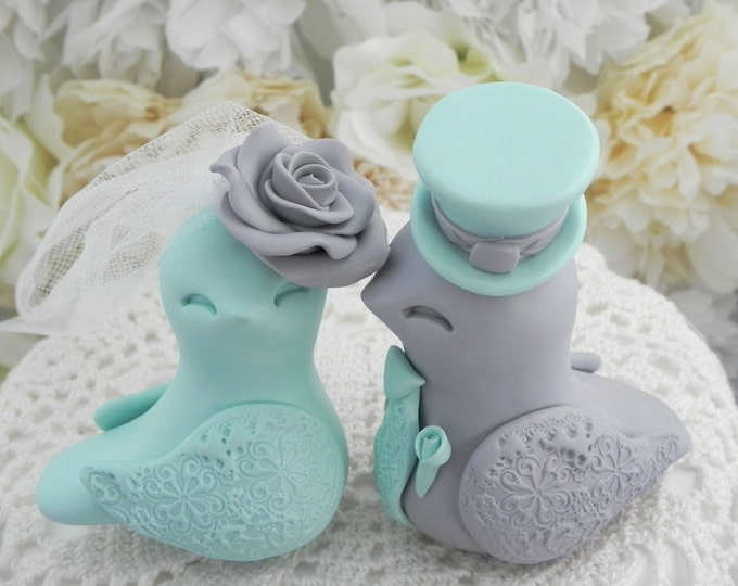 Love Birds Wedding Cake Topper, Seafoam Green and Grey, Bride and Groom Keepsake, Fully Personalized