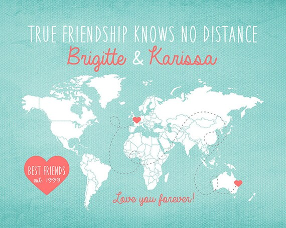 Gift For Best Friend Long Distance World Map Custom Art