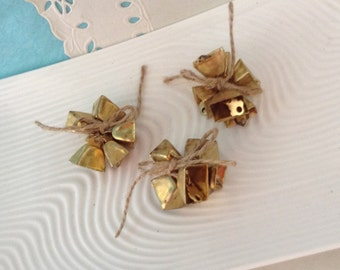 "Cow Bells - Mini gold cow bells - vintage cow bells - pick how many option - 1/2"" decorative bells - Cow bell charm - farmhouse decor"
