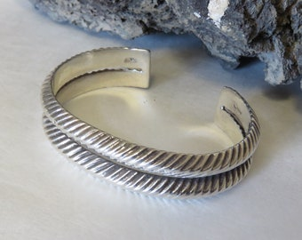 Sterling silver cuff bracelet, SMALL WRIST, marked 925, 2 band, heavy, men's or women's, vintage, 48.1 grams