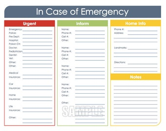 In Case of Emergency - Printable Organizing PDF - INSTANT DOWNLOAD