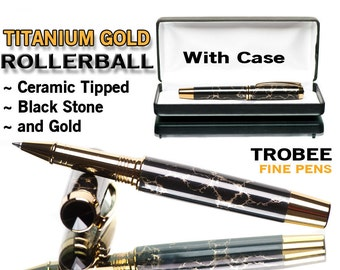 Black Pen Gift Idea with veins of gold, fine rollerball writing pens are what we specialize in - Trustone, special gift ideas trobee pens