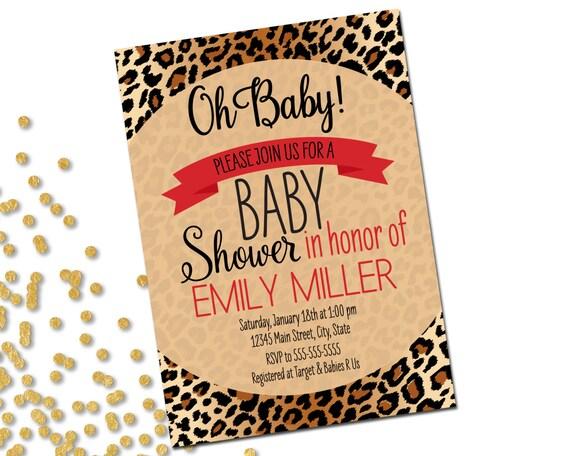 Animal print baby shower invitation brown cheetah leopard filmwisefo