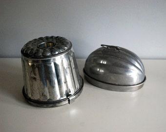 Vintage Jello Molds, Metal Pudding Molds, Farmhouse Kitchen Decor, Tin German Mold, Aluminum Wear-Ever Melon Mold, Cottage Chic Bakeware