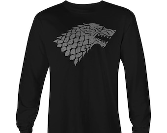 Game of Thrones Long Sleeve T-shirt , Game of Thrones Stark Tee, Game of Thrones Stark T-Shirt, Game of Thrones Stark logo,  Stark Tees