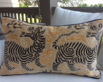Clarence House Pillow cover in Tibet Dragon(small scale mustard) velvet with charcoal velvet back and cord-14 x 22