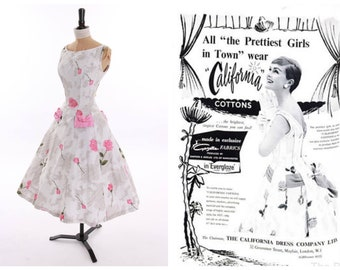 Vintage original 1950s 50s 1956 magazine featured pink rose print cotton dress with pink back bow UK 6 US 2 XS