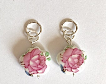 Pretty Pink Rose Beads Hearing Aid Charms