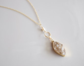 Quartz & Pearl Gold Druzy Pendant Necklace - Infinity Chain