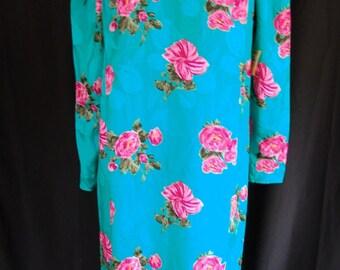 Vintage Silk Floral 1980 Dress Deadstock