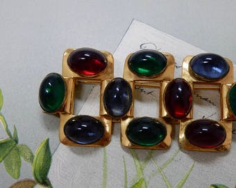 1937 MONET Signed Jelly Belly Cabochon Gold Brooch    OBU21