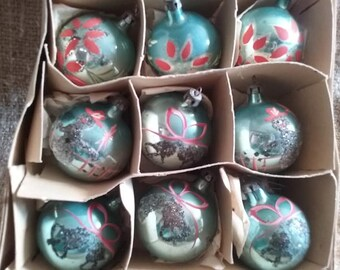 Vintage 1940's Set Of 9 Blue Glittered Christmas Ornaments