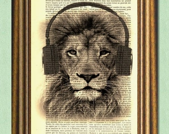 HIPSTER DJ LION - Dictionary Art Print - Wall decor - Art Print - Upcycled Book Page