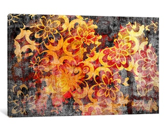iCanvas Flourished Floral Torn Extended Gallery Wrapped Canvas Art Print by 5by5collective