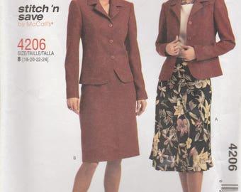 Skirt Suit Pattern McCalls 4206 Sizes 18 - 24 Uncut