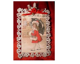 Vintage Style Victorian Christmas Card Tree Ornament - Shopping