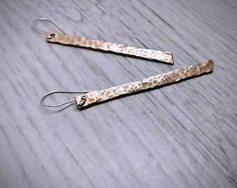 Hammered Copper Earrings, Copper Stick Earrings, Copper  Bar Earrings, Minimalist Earrings, Minimalist Jewelry, Gift Ideas, Rustic Earring