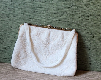 SALE heavily beaded white evening bag by Safco Bag . vintage wedding purse . gold leaf and rhinestone frame purse