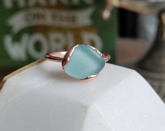 Light Blue Beach Glass and Electroformed Copper Ring  Size 7.5