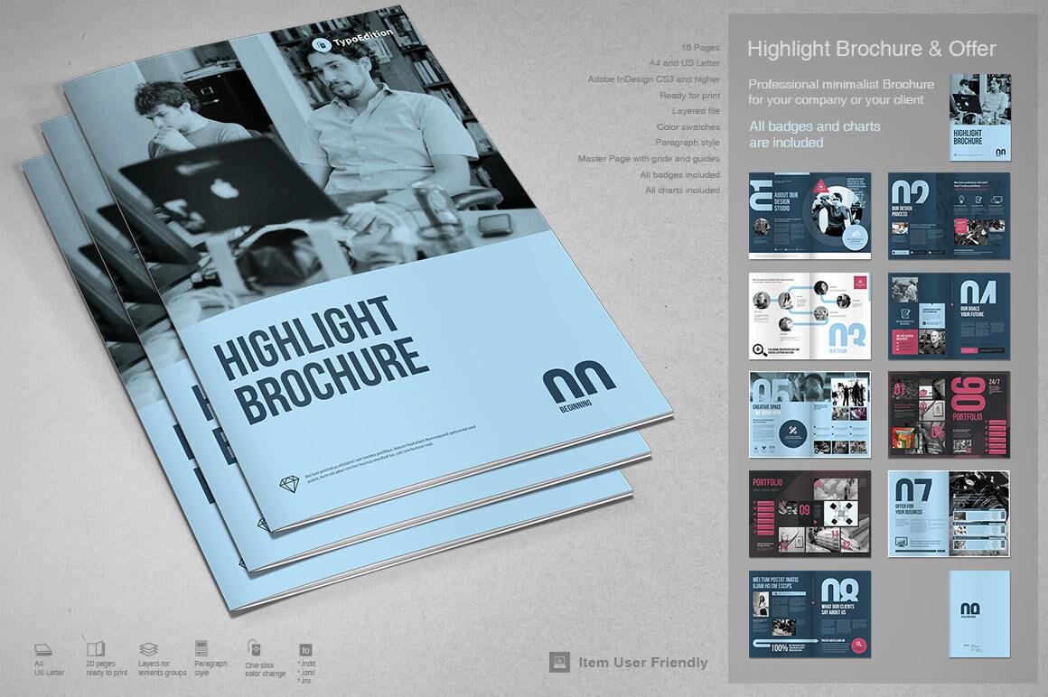 Hebt Broschüre Druckvorlage InDesign-Vorlage