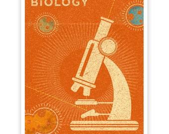 """Girls Science, Girls Room Decor, Biology Art Print 8"""" x 10"""" Retro Science Art Print, Biology Print for Boys Room Art, Kids Wall Art"""