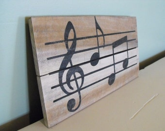 Music Notes Sign sheet music musical instrument art treble clef rustic wall hanger