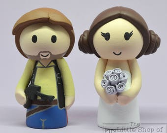 Wedding Cake Topper - Star Wars Han Solo & Leia Bride