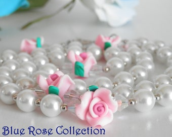 First Holy Communion Rosary for girls, white & pink rose rosary, Catholic rosary for First Holy Communion, Catholic gift for girls
