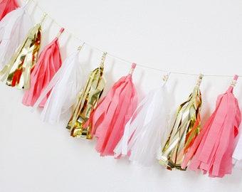 Tissue Paper Garland - Tissue Tassel Garland - Coral, Pink and white tissue tassel garland - Coral Birthday - Coral Baby Shower
