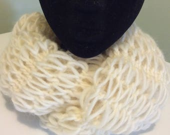 Knitted infinity scarf, neck warmer,cowl.White knitted neck warmer.Long infinity scarf.