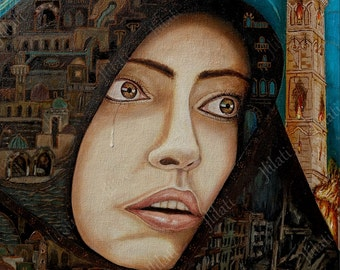 Original painting, Islamic Art, Aleppo is burning, Architecture, Syria modern artwork, oil color, Tears of War