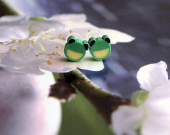 Stud Earrings frogs green jewel